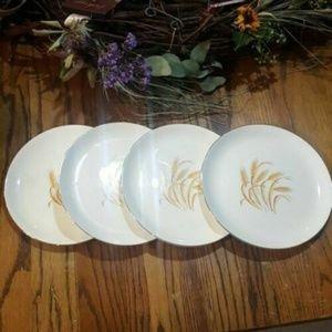 "Set of 4 Vintage Golden Wheat Dinner Plates 9 1/4"""